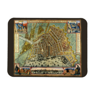 Antique Map of Amsterdam, Netherlands, Holland Rectangle Magnet