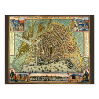 Antique Map of Amsterdam Netherlands Holland Custom Invitations