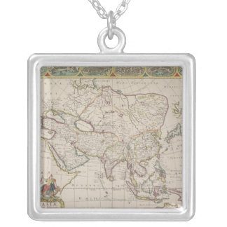 Antique Map of Asia Silver Plated Necklace