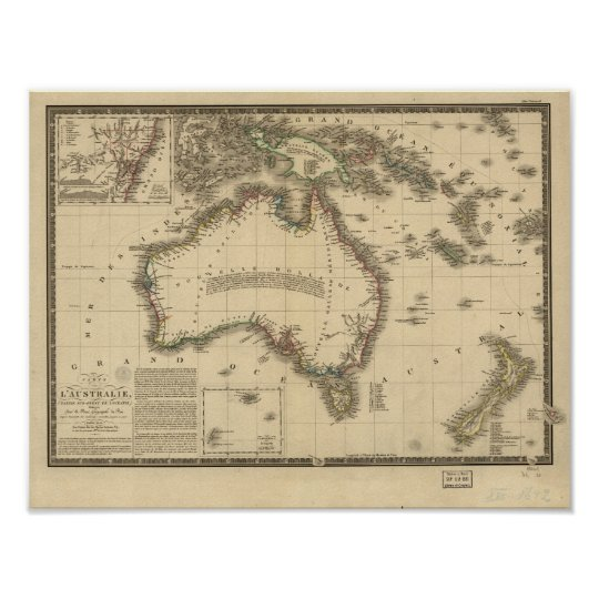 Antique Map of Australia 1826 Poster