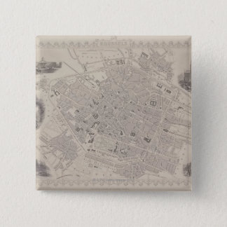 Antique Map of Belgium 15 Cm Square Badge
