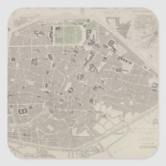 Antique Map of Belgium 2 Square Sticker