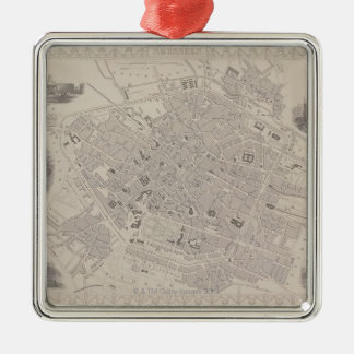 Antique Map of Belgium Silver-Colored Square Decoration