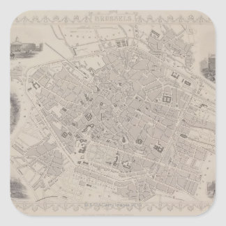 Antique Map of Belgium Square Sticker