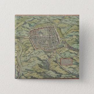 Antique Map of Calatia, Italy 15 Cm Square Badge