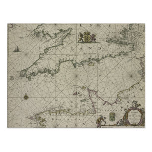 Antique Map of Channel, 1666 (colour engraving) Postcard