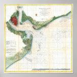 Antique map of Charleston Harbour South Carolina