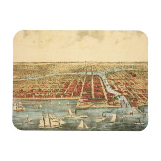 Antique Map of Chicago, LaSalle Street and River Rectangular Magnet