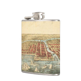 Antique Map of Chicago, LaSalle Street and River Hip Flask