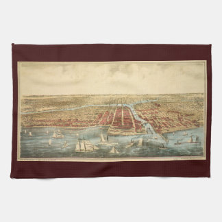 Antique Map of Chicago, LaSalle Street and River Tea Towel