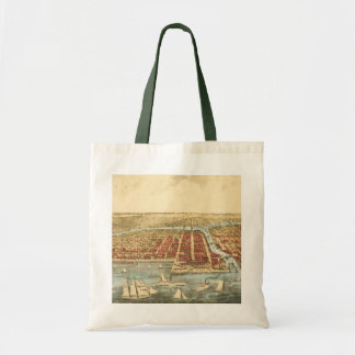 Antique Map of Chicago, LaSalle Street and River Tote Bag
