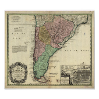 Antique Map of Chile & Paraguay 1733 Poster