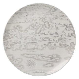 Antique Map of Croatia Plate