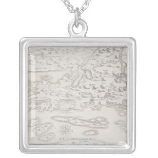 Antique Map of Croatia Silver Plated Necklace