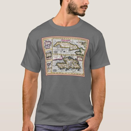 Antique Map of Cuba, Haiti, Dominican Republic T-Shirt