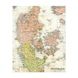 Antique map of Denmark Canvas Print