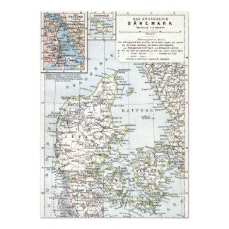 Antique Map of Denmark, Danmark in Danish, 1905 Card