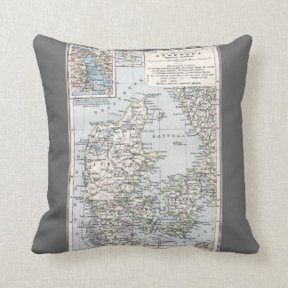 Antique Map of Denmark, Danmark in Danish, 1905 Cushion