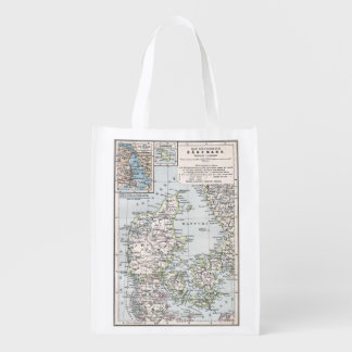 Antique Map of Denmark, Danmark in Danish, 1905 Reusable Grocery Bag