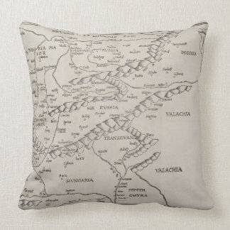 Antique Map of Eastern Europe Throw Pillow