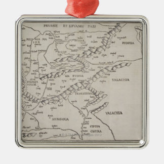 Antique Map of Eastern Europe Silver-Colored Square Decoration