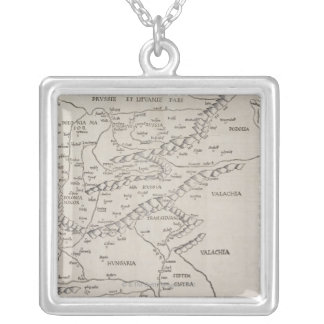 Antique Map of Eastern Europe Silver Plated Necklace