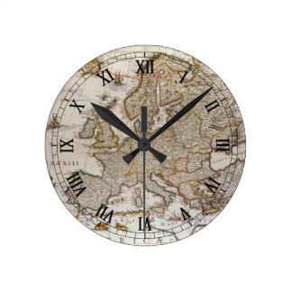 Antique Map of Europe by Willem Jansz Blaeu, c1617 Round Clock