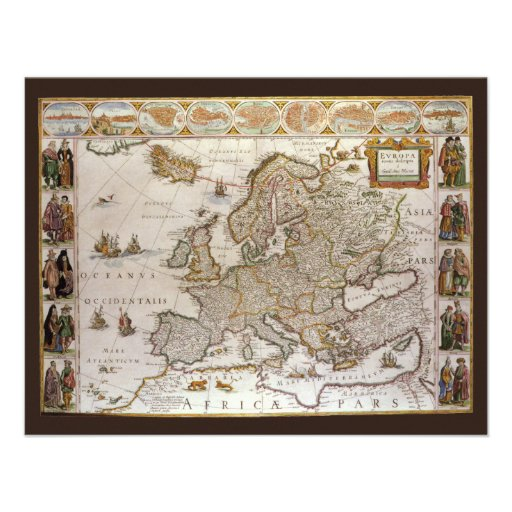 Antique Map of Europe, c1617 by Willem Jansz Blaeu Custom Announcement