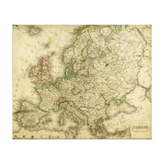 Antique Map of Europe Canvas Print