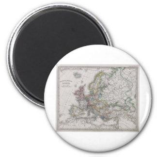 Antique Map of Europe circa 1862 6 Cm Round Magnet
