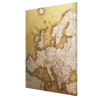 Antique map of europe. Old world. Canvas Print