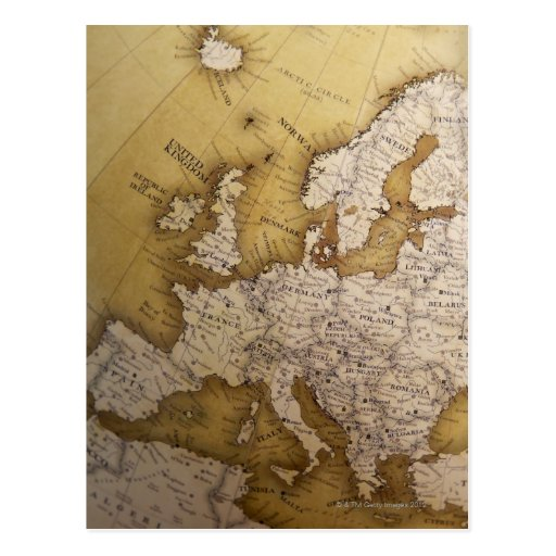 Antique map of europe. Old world. Post Cards