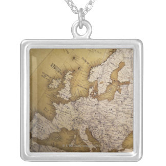 Antique map of europe. Old world. Silver Plated Necklace