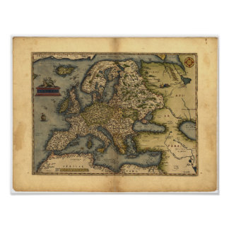 Antique Map of Europe ORTELIUS ATLAS 1570 A.D. Poster