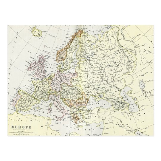 Antique map of Europe Postcard