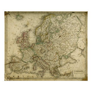 Antique Map of Europe Print