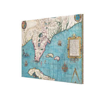 Antique Map of Florida and Cuba Canvas Print