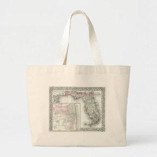Antique Map of Florida Mobile Alabama Tote Bags
