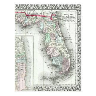 Antique Map of Florida & Mobile, Alabama Postcard