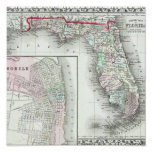 Antique Map of Florida & Mobile, Alabama Posters