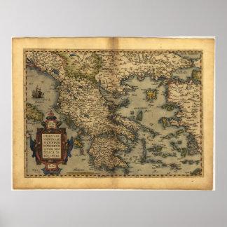 Antique Map of Greece ORTELIUS ATLAS 1570 A D Poster