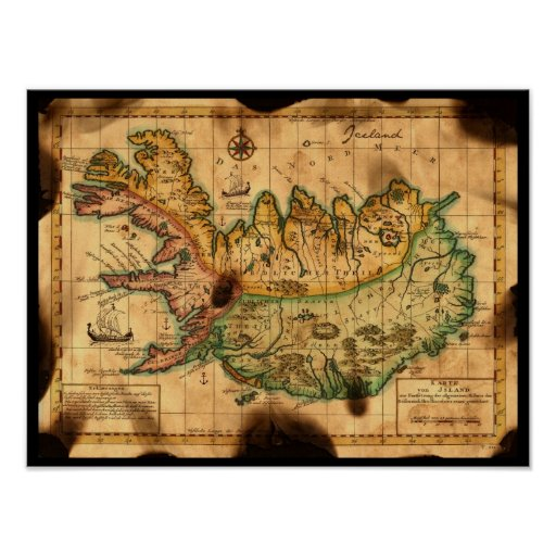 Antique Map of Iceland Print