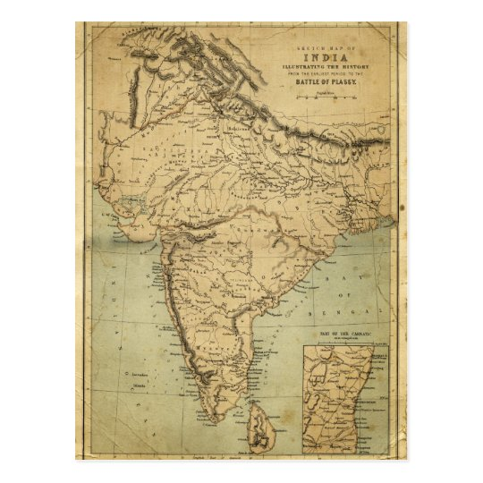 Antique Map of India in the 19th Century