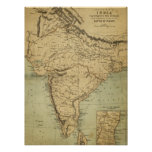 Antique Map of India in the 19th Century Poster