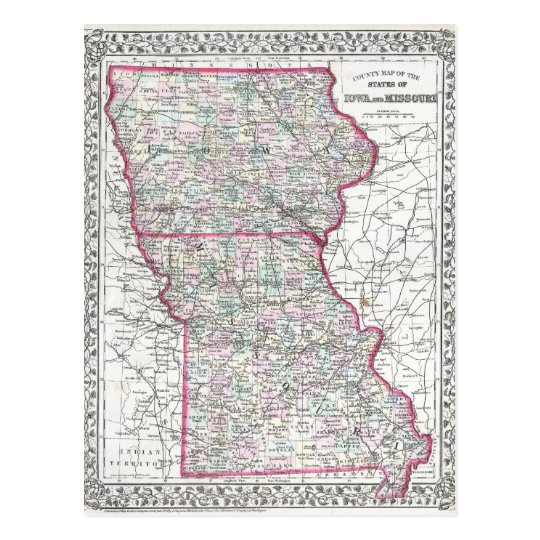 Antique Map of Iowa & Missouri circa 1874 Postcard