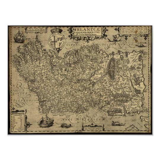 Antique Map of Ireland 1606 Poster