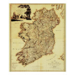 Antique Map of Ireland Poster