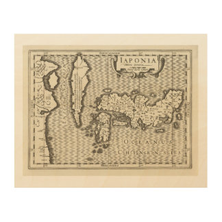 antique map of Japan Wood Print