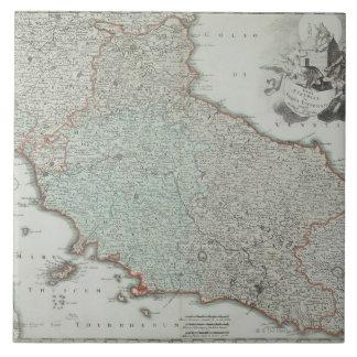 Antique Map of Lazio, Italy Large Square Tile