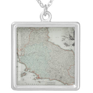 Antique Map of Lazio, Italy Silver Plated Necklace